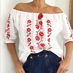 VINTAGE HUNGARIAN BLOUSE HAND EMBROIDERED